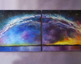 Original Oil Fantasy Space Landscape Painting Set of 2 LARGE Wall decor Office decor Full Moon Starry Night Galaxy *Arc of the Milky Way*