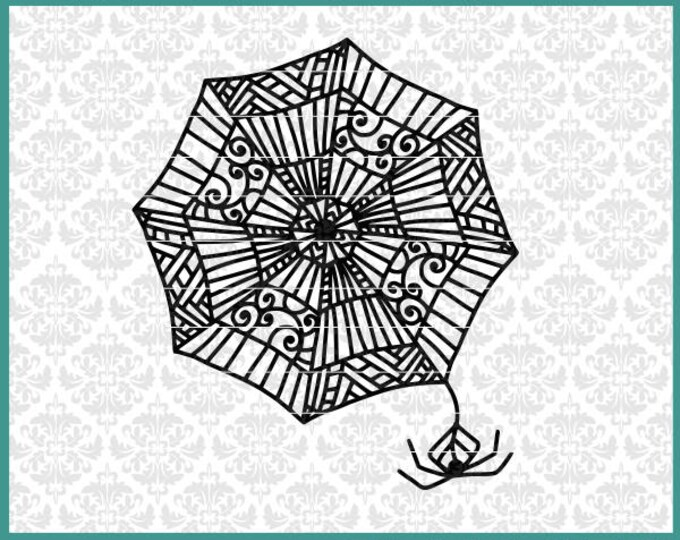 Spider Web, Tangle, Spider, Svg, Dxf, Cutting File, Mandala, Cricut, Silhouette, Halloween, Scary, Shirt Design, Fancy, Intricate