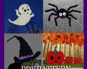 Halloween Appliques/Patches, Spider, Casper, Pumpkin, Witch Hat - INSTANT DOWNLOAD Crochet Pattern