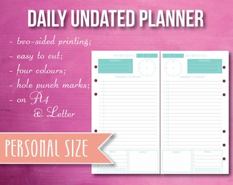 Daily planner, undated, Personal size, printable