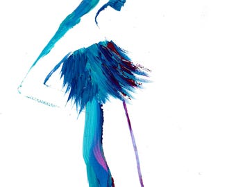 Blue Feathers, print from original bold stroke fashion illustration painting series by Jessica Durrant