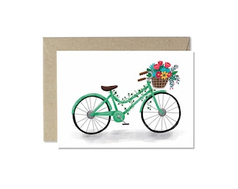 Vintage Bicycle with Flowers Card