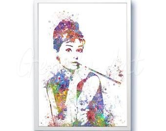 Breakfast at Tiffany's Watercolor Art - Audrey Hepburn Art - Artwork- Painting - Illustration - Home Decor - Wall Decor - Wall Art