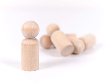 20 Wooden Peg Dolls | Dad Unfinished Peg Dolls | Little Wooden People | Little People | Game Pawns | Paint it yourself Wood People
