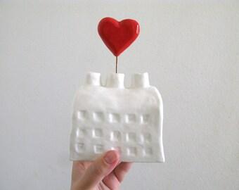 Grand cœur Factory - Sculpture céramique - coeurs sur le côté