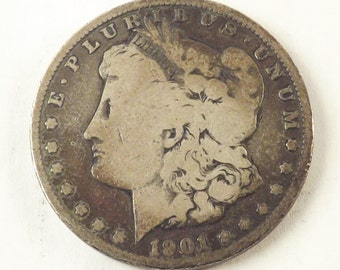 1901 O Morgan Silver Dollar Collectible Coin, 1901O One Dollar Coin New Orleans Mint, Vintage Coin