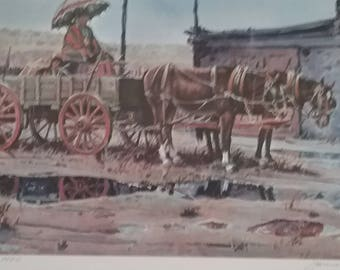 Vintage  Print Rainy Day at Hubbell's Trading Post by James Boren 1969 Signed by Artist
