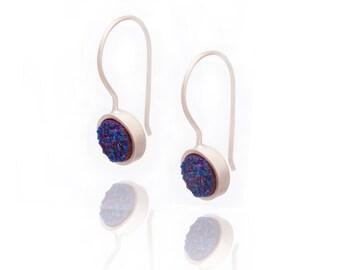Druzy Drop Earrings -  Royal Blue Druzy in Sterling Silver - Druzy / Drusy Quartz Earring - Sterling Silver - Round Druzy Drop Earring