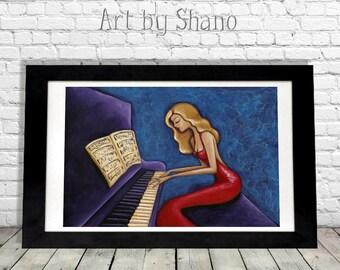 Pianist Art Print, Piano Gift, Elegant Woman Art, Colorful Wall Art, Piano Art Print, Giclee Print, Gift for Mom, Music Lover Gift, Shano