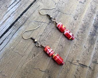 Red Millefiori Earrings, Red Italian Glass Beads, Red Flower Earrings, Italian Millefiori, Glass Beads, Millefiori Glass