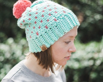Fair Isle Beanie--Teal and Pink hearts--Adult