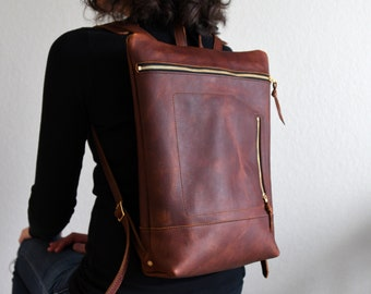 Leather Daypack, City Backpack in Rustic Red Kodiak