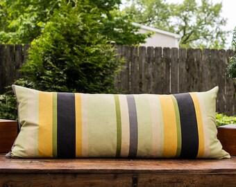 "Gaston y Daniela Umbelifera Rayas Fabric~37"" x 15""~Striped Lumbar Cushion~Custom Down Pillow Insert Included"