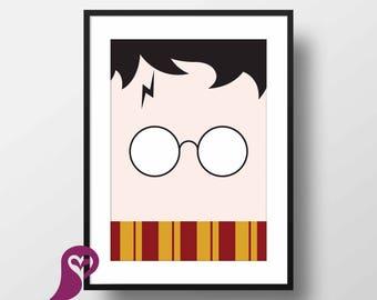 Harry Potter Poster | Harry Potter Glasses | Wall Art | Wall Decor | Home Decor | Prints | Poster | Digital Paper | Digital Download