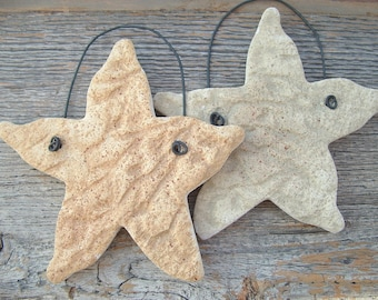 Starfish Salt Dough Ornaments (2) Sea Stars / Beach Decorations  / Nautical Ornaments