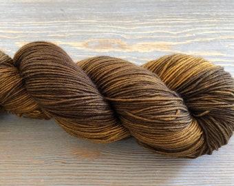 Hand Dyed Yarn, Sock Weight Superwash Merino Wool, Indie Dyed, Merino & Nylon Blend, 4 ply, brown, copper