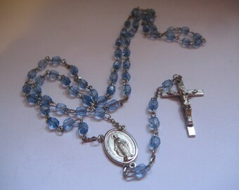 Vintage Light Blue Rosary