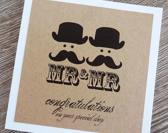 Mr & Mr Wedding Card - gay marriage / civil partnership