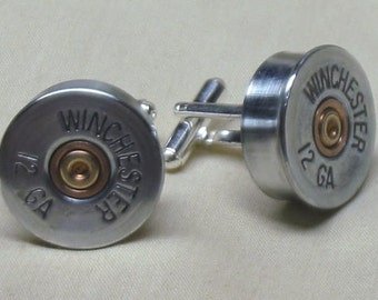 Shotgun Shell Cufflinks Winchester 12 Gauge Nickel - Men's Anniversary Gift