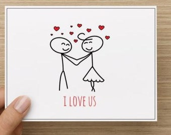 "Valentine's Day: Couple in love.  ""I Love Us"".  Personally designed.  Single card."