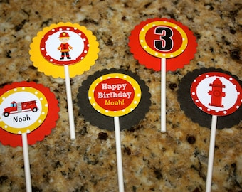 Personalized Fire Truck Cupcake Toppers