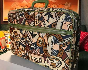 Vintage 1960's Canvas Suitcase with Faux Travel Tags