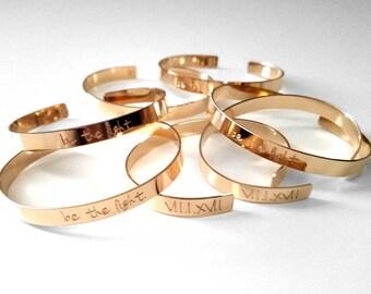 Personalized Cuff Bracelet, Custom Band, Best Friend Bangle, Friendship Bracelet,Bridesmaid Bracelets, Wedding Gifts Present, Kids Grandkids