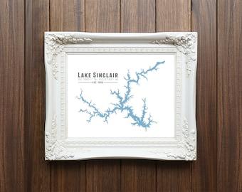 Lake Sinclair Georgia Map Wall Art Print - Milledgeville - Souvenir Gift Housewarming Print