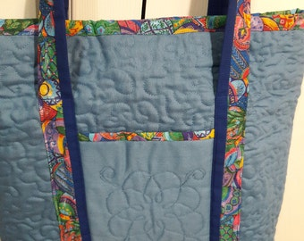 Easter Tote Bag with lots of pockets, Quilted tote bag, Carry All bag, Diaper Bag, Over Night Bag,