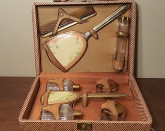 Vintage Art Deco Travel Dresser Set in Case, Celluloid and Brass Travel Vanity Kit with Mirror, Comb, Brush, Glass Jars Antique Victorian