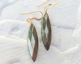 Pyrite Dangle Earrings Gold Drop Earrings Crystal Jewelry