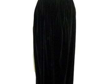 50s/60s Anne Fogarty Black Velvet Maxi Skirt - sm, med