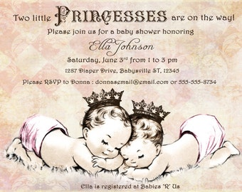 Twins baby shower boy and girl baby shower invitation for twins baby shower invitation for twin girls vintage princess crown pink filmwisefo Choice Image
