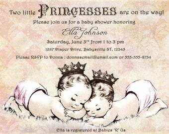 Twins Baby Shower Invitation For Twin Girls - Vintage - Princess - Crown - Pink - DIY Printable
