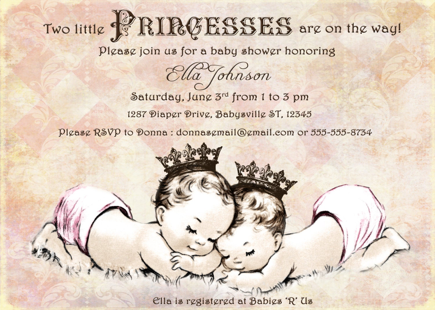 Twins baby shower invitation for twin girls vintage zoom filmwisefo