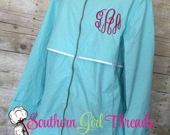 FREE SHIPPING! Monogrammed Rain Jacket-Monogrammed Rain Coat-Womens Rain Jacket-New Englander Rain Jacket-Gifts for Her-Gifts Under 50