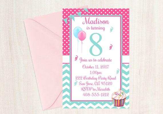 8th birthday party invitation 8th birthday eighth birthday filmwisefo Choice Image