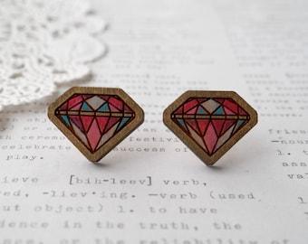 Pastel Hand Coloured Wooden Diamond Geometric Stud Earrings