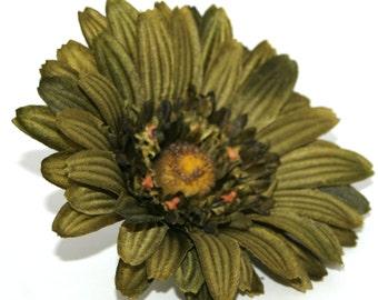 Textured Olive Green Gerbera Daisy - Artificial Flowers, Silk Flowers - PRE-ORDER