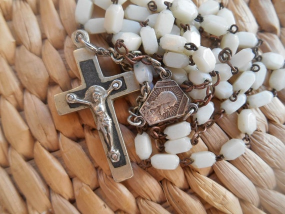 White Milk Glass Rosary 1950s French Lourdes Souvenir Tagged Brass Crucifix with Wood Inlay  #sophieladydeparis