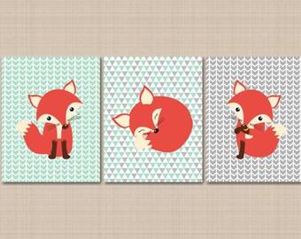 Fox Nursery Wall Art Mint Gray Arrows Nursery Wall Decor Woodland Nursery Wall Art Mint Gray Fox Nursery Art Fox Nursery Decor UNFRAMED 175