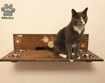 4 BOWLS SHELF for cats – Furniture for cats - Handmade made in Italy