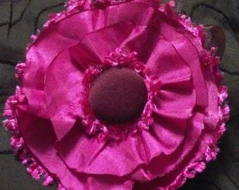 Elegant Taffeta Flower Applique Pink/Brown
