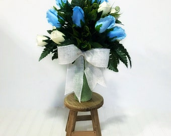 Cemetery flowers, Dad Memorial, Grave Marker, Cemetary Vase,In Loving Memory, Arrangement, Loss of Father, Fake Flowers, Grave Decoration