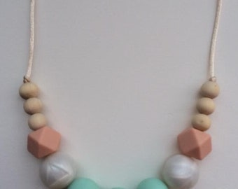 Jessica Necklace. Silicone and Wood Teething and Nursing Necklace