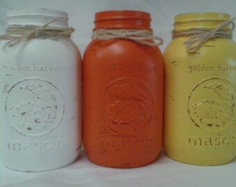 3 Hand painted quart size Mason jars. Rustic Fall vases. Country cottage/ farmhouse decor. Candy corn themed Decorative canning jars.