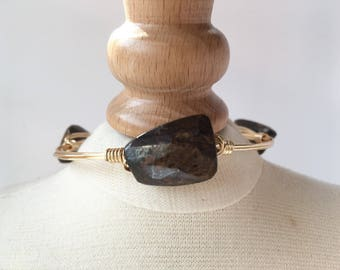 Bronzite Wire Wrap Bangle, Wire Wrap Bangle, Wire Wrapped Bangle, Wire Bangle, Wire Wrap Bracelet, Wire Wrapped Bracelet