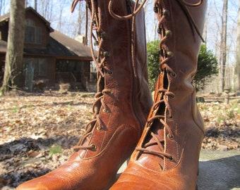 Nice Used Vintage Leather Granny Boots