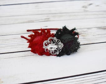 Handcrafted Forest Green and Red Shabby Rose Headband - Christmas Adult Headband - Fancy Flower Headband - Silver Red Holiday Headpiece