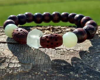 Recycled Glass and Wood Bead Bracelet